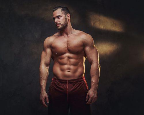 Portrait of attractive naked bodybuilder